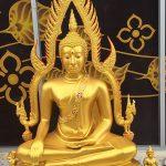 พระพุทธ ชินราช ทองเหลือง พ่นทอง ฐานบัว หน้าตัก 30 นิ้ว  1