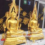 พระพุทธ ชินราช ทองเหลือง พ่นทอง ฐานบัว หน้าตัก 30 นิ้ว  2