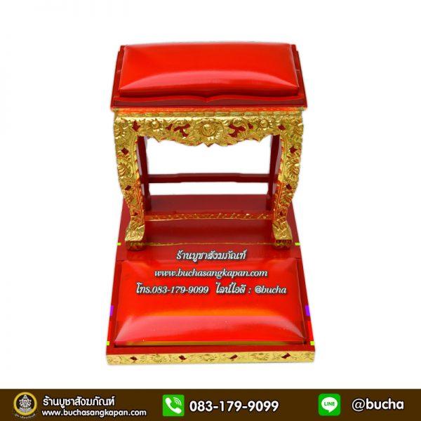 โต๊ะกราบ ไม้เบญจพรรณ  แกะลาย ปิดทอง สีแดง หน้า 8