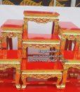 โต๊ะหมู่ไม้สัก แกะลาย ปิดทอง สีแดง หมู่ 9  หน้า 8 03