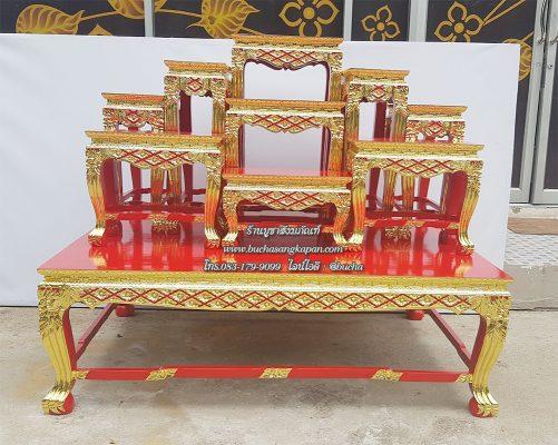โต๊ะหมู่ไม้สัก แกะลาย ปิดทอง สีแดง หมู่ 9 หน้า 8
