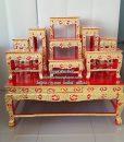 โต๊ะหมู่ ไม้เบญจพรรณ  แกะลาย ปิดทอง สีแดง หมู่ 9  หน้า 8 02