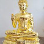 พระพุทธรูป ทองเหลือง ปิดทอง คำแท้ ฐานบัว ปางประทานพร หนักตัก 40 นิ้ว