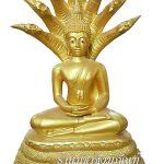 พระพุทธรูป ทองเหลือง พ่นทอง ปางนาคปรก หน้าตัก 15 นิ้ว