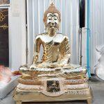 พระพุทธรูป ปางมารวิชัย ทองเหลือง ขัดเงา หน้าตัก 50 นิ้วฐานบัว
