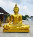 พระพุทธรูปปางมารวิชัย  ทองเหลือง พ่นทอง หน้าตัด 109  นิ้ว02