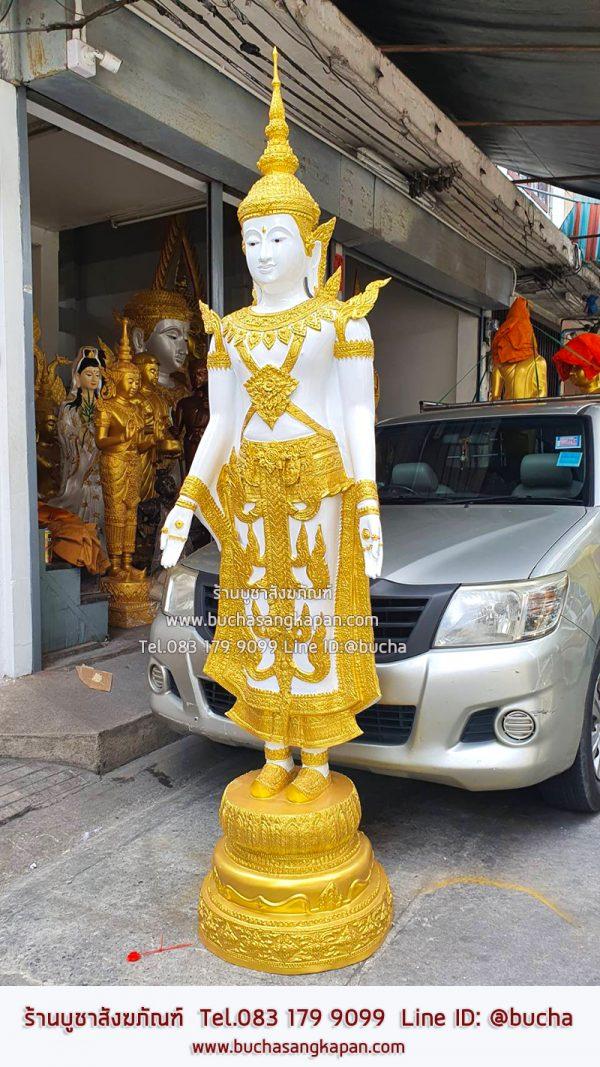 พระปางเปิดโลก ทรงเครือง ทองเหลือง พ่นทอง ขนาด 30 นิ้ว