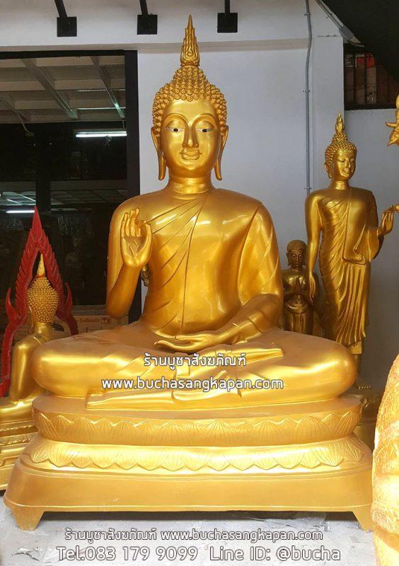พระพุทธรูปปางประทานพร เนื้ออัลลอยด์ พ่นทอง หน้าตัก 60 นิ้ว ฐานบัว
